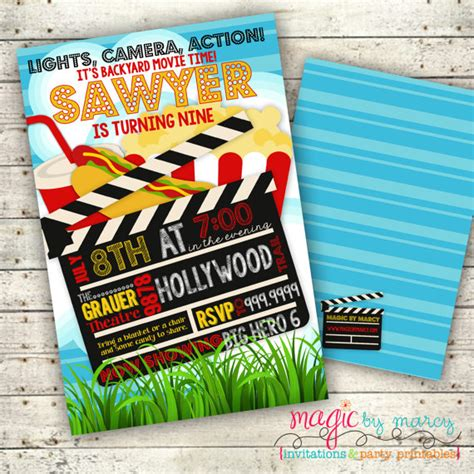 backyard movie night invitations digital summer backyard movie night party invitation