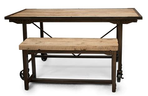 kitchen bench table hand made custom farmhouse reclaimed wood steel dining