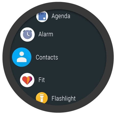 circular layout in android exle creating lists on wear android developers