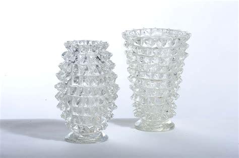 barovier toso due vasi in vetro rostrato anni 40 asta