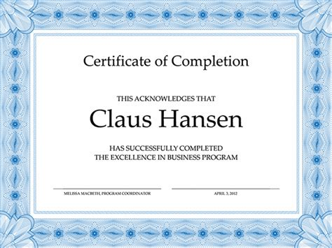 Certificate Of Completion Template by Certification Of Completion Template Format Template Of