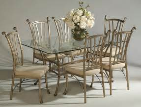 Traditional Formal Dining Room Furniture bronze painted steel frame glass top classic 7pc dinette set