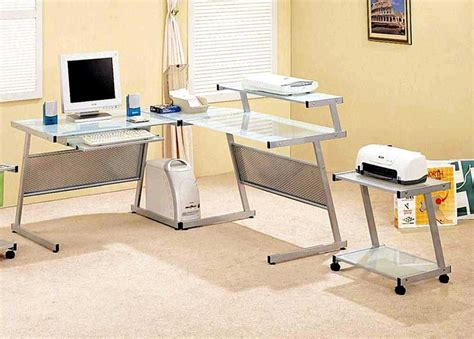 desk with printer space glass top computer desk with shelves for small space and