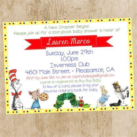 Book Invitations Template Children S Book Themed Baby Shower Invitation By Jenleonardini Baby Shower Pinterest