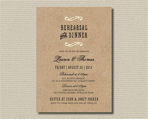 wedding rehearsal invitations free printable wedding rehearsal dinner invitation kraft look