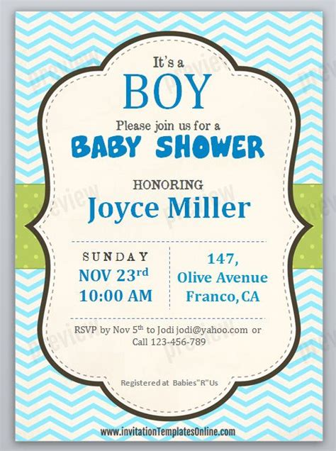 boy invitation templates printable baby shower invitation template for boys