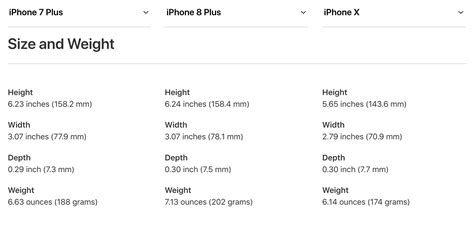 weight size and battery iphone x vs iphone 8 vs iphone 7 mid atlantic consulting