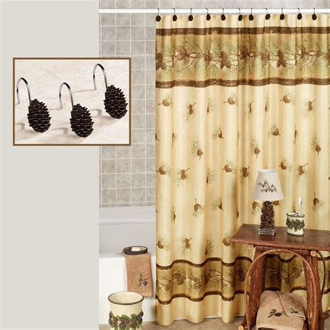 pine cone curtains pine cone shower curtain alluring pine cone cabin lodge