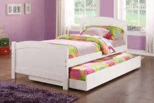 trundle bed poundex youth bedroom trundle bed in white solid wood