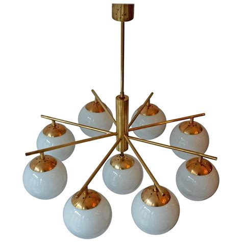 Brass And Glass Chandelier Italian Brass And Glass Chandelier At 1stdibs