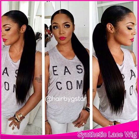 the middle part with weave in a ponytail middle part with 3 4inch for black women long ponytail