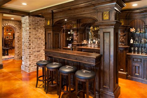 Home Bars Basement by Elegant English Country Home Traditional Home Bar