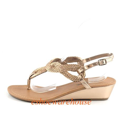 gold low wedge sandals light gold so rope twisted loop low wedge