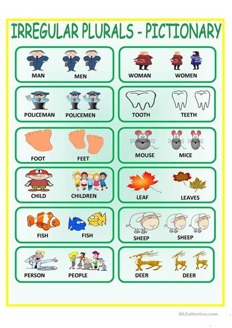 Irregular Plural Nouns Worksheet by Irregular Plurals Pictionary Worksheet Free Esl