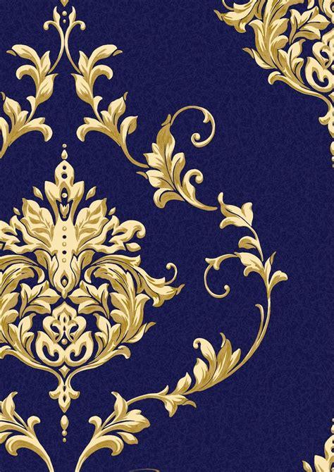 wallpaper gold and blue dark blue and gold metallic damask wallpaper google