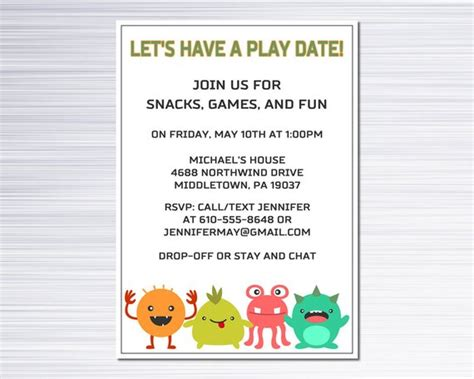 playdate cards printable template items similar to playdate invitation monsters