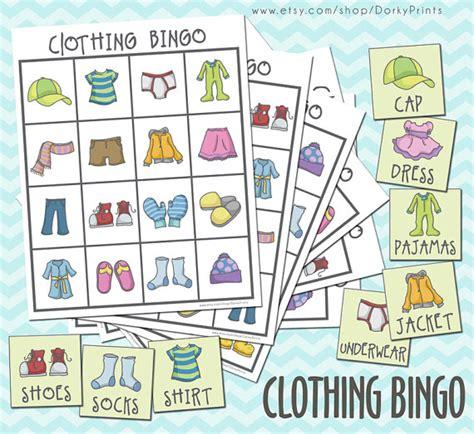Printable Card Games For Kindergarten | clothing printable bingo game pdf preschool printable