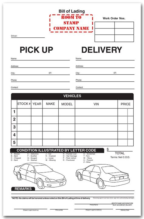 auto transport invoice template bill of lading template blank bill of lading form sle