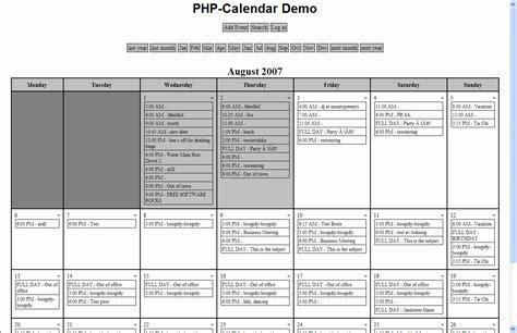 Php Calendar Php Calendar