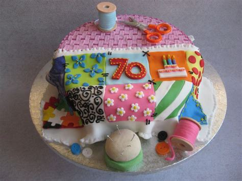 Patchwork Cake - birthday cake sewing basket with patchwork quilt this