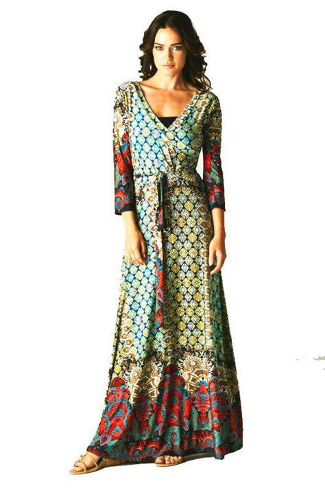 Bohemian L new 3 4 sleeve moroccan maxi faux wrap dress bohemian