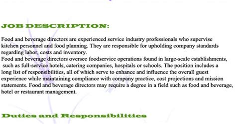 Food And Beverage Director Description by Food And Beverage Manager Description Restaurant Manager World Cuisine Recipes