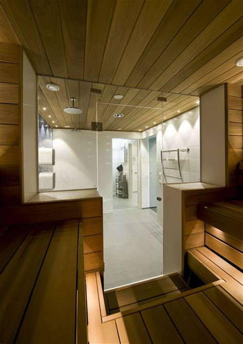 Swimming Pool Shower Room And Sauna Divided By Glass Doors Bathroom Sauna Showers