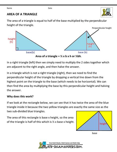 printable area formulas geometry formulas triangles