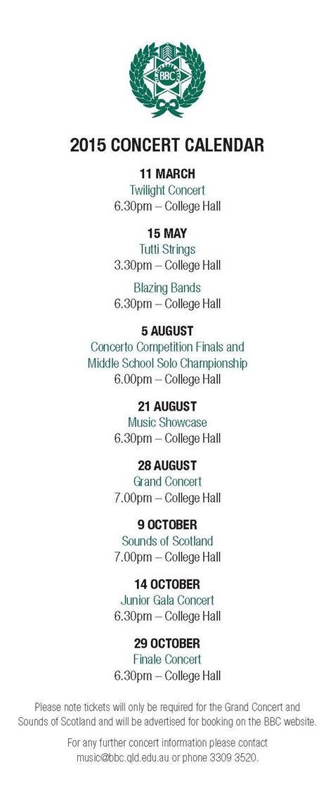 Concert Calendar Concert Calendar Postcard Page 2 Brisbane Boys College