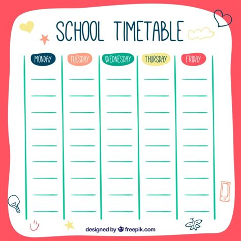 hand drawn style school timetable template vector free