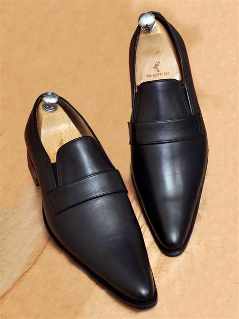Handmade Mens Clothing - handmade mens fashion black calf leather mocassins shoes