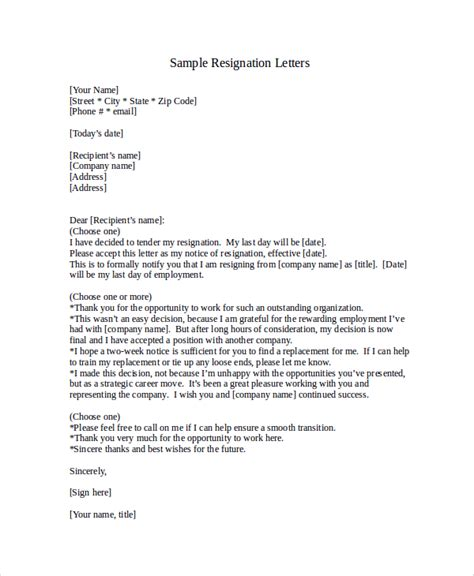 sle resignation letter with 2 week notice 6 exles in word pdf
