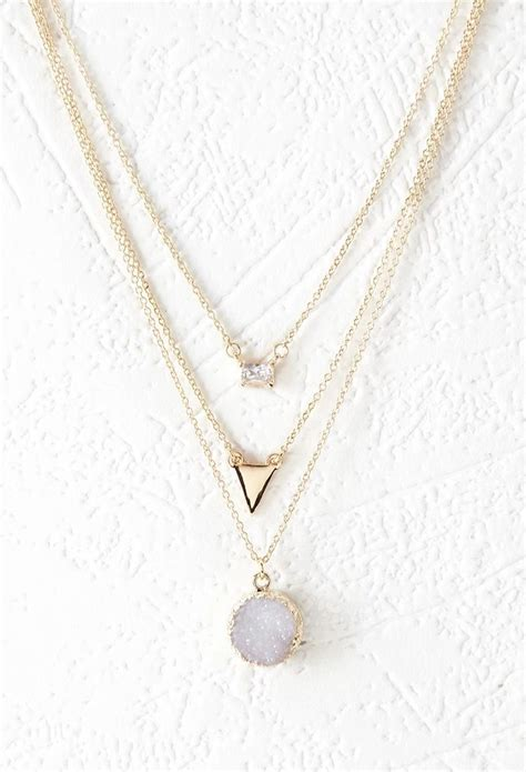 Rhinestone Layered Necklace rhinestone layered chain necklace forever 21