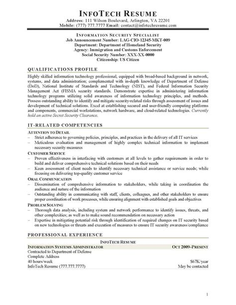 Industrial Security Specialist Sle Resume by Sle Chief Information Security Officer Resume 28 Images Coo Resume Sle 28 Images Images