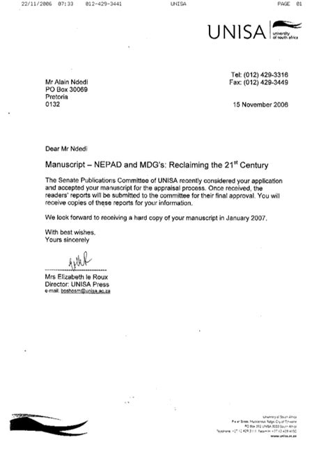 Service Confirmation Letter From Employer Unisa Press Confirmation Letter