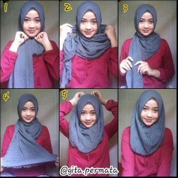 tutorial hijab pashmina saten simple tutorial hijab pashmina satin simple model terbaru 2017