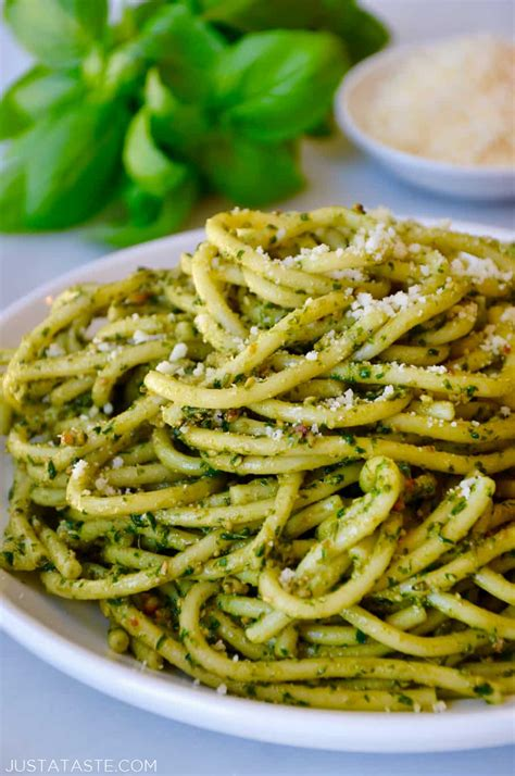 best pesto pasta recipe the best basil pesto pasta just a taste