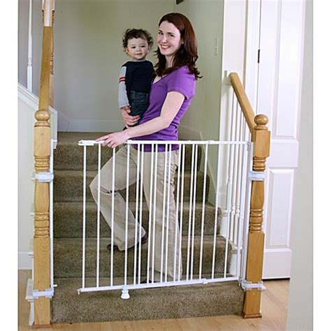 swinging baby gates for top of stairs regalo 174 2 in 1 extra tall top of stairs gate bed bath
