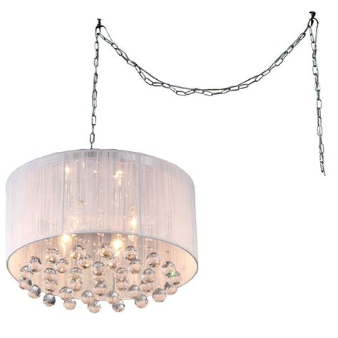 In Swag Chandelier Mineya 5 Light Chrome Indoor White Fabric 17 In Crystal