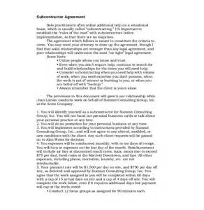 contractor agreement template free 10 subcontractor agreement templates free sle