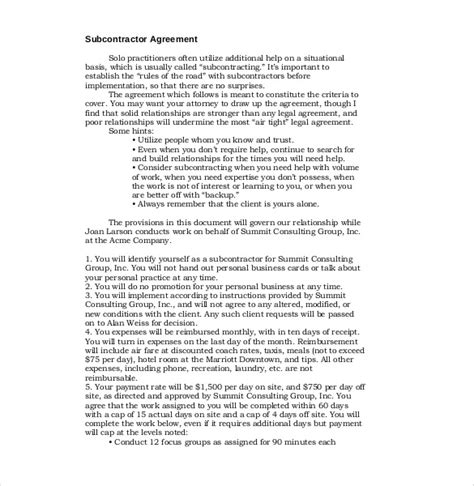 subcontractor scope of work template 14 subcontractor agreement templates free sle