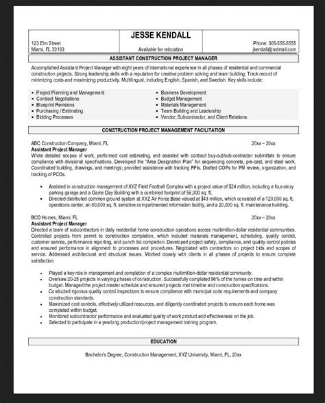 general assistant contractor resume objective exles resumes design