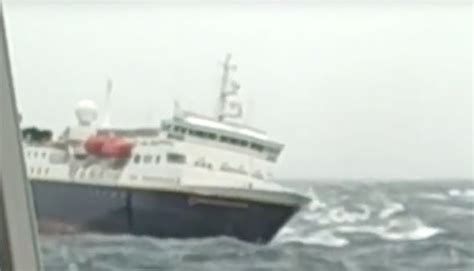 ship video viral video shows cruise ship rescued after damage in