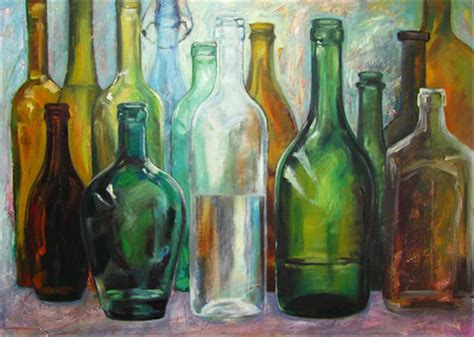 painting glass paintings of glass bottles