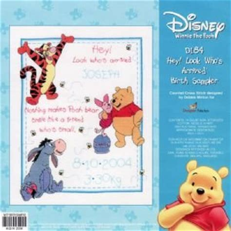 Winnie The Pooh Cross Stitch Birth Record D184 Hey Who S Arrive Birth Sler Disney Winnie The
