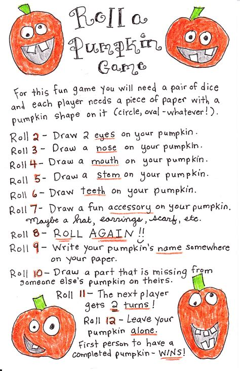 printable kindergarten dice games roll a pumpkin game free printable happy home fairy