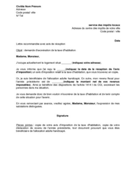 Exemple De Lettre Taxe D Habitation exemple gratuit de lettre demande exon 233 ration taxe