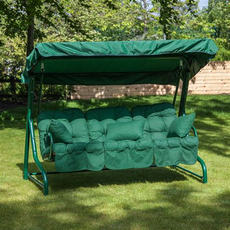 swinging garden seat garden swing seat for 3 luxury cushions alfresia