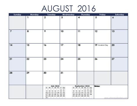 2016 Calendar August August 2016 Calendar With Holidays