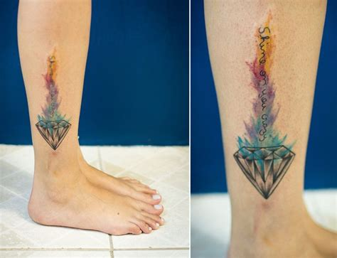 watercolor tattoo diamond shine on you tat tatuagem tattrx
